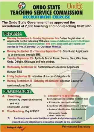 Ondo State Teachers Recruitment